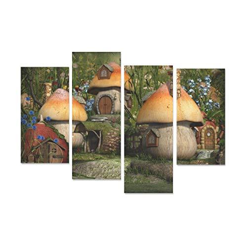 WDDHOME 4 Stücke Küche Wandfarbe Fantasie Pilz Hourse Wandkunst Dekor Für Schlafzimmer Kein Rahmen Wohnzimmer Büro Hotel Wohnkultur Geschenk