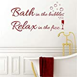 toguke Vinyl Wall Decals Quotes Sayings Words Art Deco Lettering Inspirational Bath in The Bubbles Relax in The Fizz for Bathroom washroom Wall Sticker