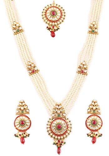 Touchstone - Colección Padmavati india Bollywood tradicional Kundan aspecto de imitación rubí esmeralda y perlas, joyería para novia Rani Haar en tono dorado antiguo para mujer.