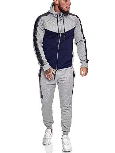 OneRedox Herren Jogginganzug Sportanzug Trainingsanzug Sweatshirt Hose Jogging Anzug Modell 1053 (M (Fällt eine Nummer Kleiner aus), Grau)
