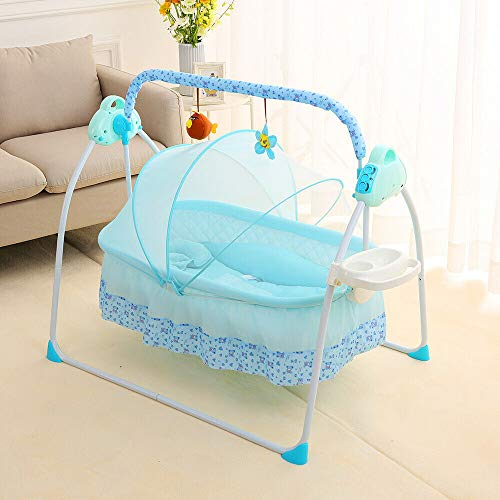 Electric Baby Cradle Auto-Swing Baby Bassinet Swing Bed w/Remote Controller 180° Lie Flat Infant Rocker Crib Sleeping Basket Bed with Pillow+Mat for Babies 0-12months (with Tray, Blue)