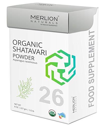 MERLION NATURALS Organic Shatavari Root Powder | Asparagus racemosus | 227gm/ 8OZ/ 1/2lb | USDA NOP Certified 100% Organic