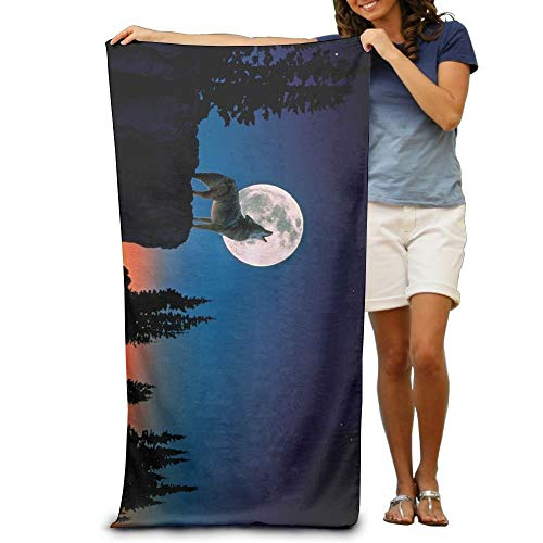 ETGBFH Space Moon Tropical Howling Wolf Beach Towels 100% Polyester Travel Bath Sheets Large Towel For Beach Blanket Cover Tent Floor Yoga Mat 31.5' X 51.2',Natural Soft Quick Dry