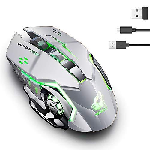 Uong Kabellose Maus, Wiederaufladbare 2,4 GHz Leise 7 Farben LED Breathe Backlit 1800DPI Optische Gaming-Maus mit USB-Empfänger für MacBook, Laptop und Computer-PC (600 Mah Lithium-Batterie)