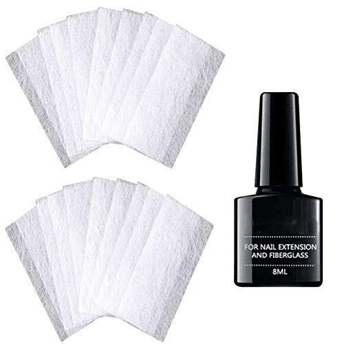 Extension D'ongle en Fibre de Verre, Kit de Fibre d'extension pour Embouts de Gel en Fibre de Verre de Soie non Tissée Nail Art (20 pièces)