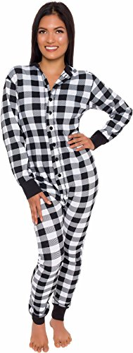 Buffalo Plaid Womens One Piece Pajamas - Adult Unisex Union Suit with Drop Seat Butt Flap by Silver Lilly (Black/White, Large)