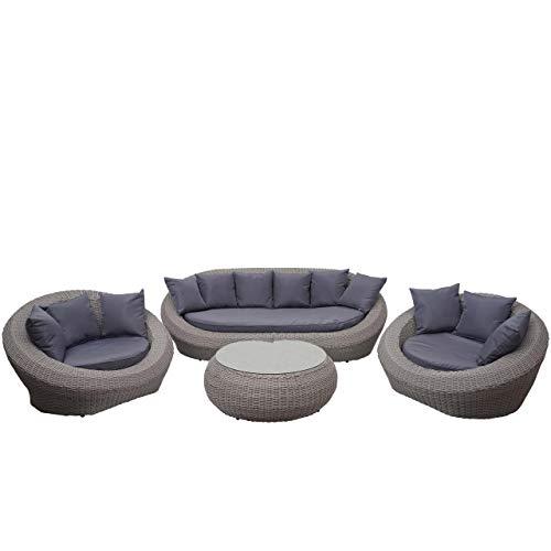 Mendler 4-1-1 Poly Rattan Garnitur HWC-F88, Lounge-Set Sofa, halbrundes Rattan Alu-Gestell oval ~ grau, Kissen dunkelgrau