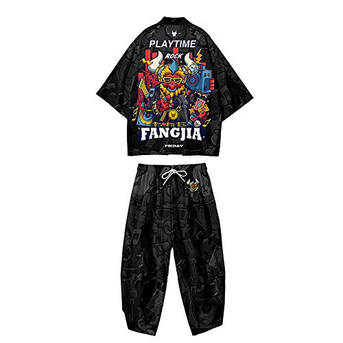 Conjunto Chaqueta Kimono para Hombre,Pantalones Harem Japoneses Talla Grande,Capa Haori con Estampado Moda,Bata de Primavera y Verano,Black-4XL