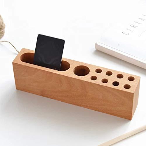 Soporte de madera para bolígrafos, organizador de escritorio, caja de almacenamiento, artículos de papelería, suministros de oficina, soporte para teléfono móvil
