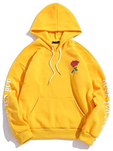ZAFUL Felpa da uomo con lettere di rose, in tessuto non tessuto, canguro con coulisse, con cappuccio, stampa grafica floreale giallo. S