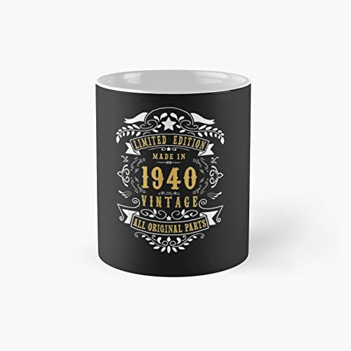 80 Years Old Made in 1940 Vintage 80th Birthday Gift Id - A Novelty Ceramic Cups Inspirational Holiday Gifts for Morther's Day, Men & Women, Him Or Her, Mom, Dad, Sister, Brother, Coworkers, Bestie.