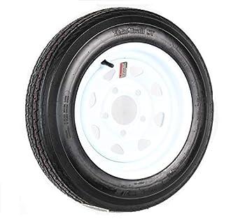 Trailer Tire On Rim 4.80-12 480-12 4.80 X 12 12 in LRB 5 Lug Wheel White Spoke