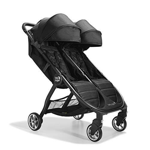 Baby Jogger City Tour 2 Double Travel Pushchair | Lightweight, Foldable & Portable Double Buggy | Pitch Black