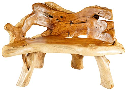 Windalf lounge zitbank BERILA BEUTLIN 128 cm vintage keuken houten bank uniek handwerk van wortelhout