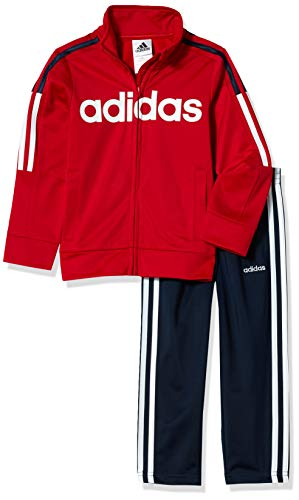 adidas Boys' Little Tricot Jacket & Pant Track Suit Clothing Set, Tapered Leg Collegiate Navy/Scarlet, 5