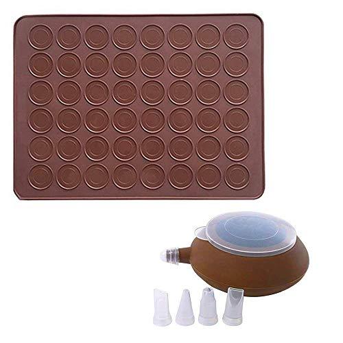CETECK Matte, Silikonset zur Makronenherstellung, Backmatte für 48 Stück, Nicht haftendes Backutensilienset mit Verzierungsstift mit 4 Tüllen, 2