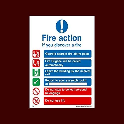 Vuuractie als je een brand ontdekt - Brandweer wordt automatisch genoemd Stickers zelfklevend Vinyl (Fa1) - Vuur, Montagepunt, Break Glas, Lift, Alarm, Brandblusser