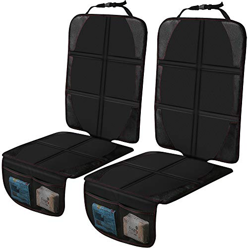 Car Seat Protector Cushion Mat, 2 Pack Baby Seat Protector Child Car Seat with Organizer Pocket, Thickest EPE Auto Dog Pad with Non Slip Backing Waterproof for SUV Sedan Truck, Leather and Fabric Seat