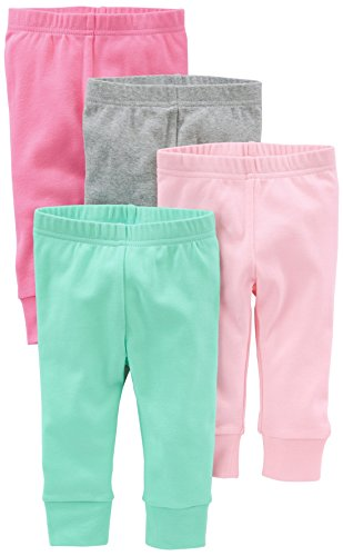 Simple Joys by Carter's pantalón para niñas pequeñas, paquete de 4 ,Bright Pink/Gray/Light Pink/Mint ,6-9 Meses