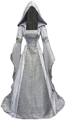 Womens Medieval Dress Novely Long Sleeve Hooded Robe Vintage Renaissance Costumes Floor Length product image