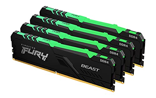 Kingston FURY Beast RGB 32GB (4x8GB) 3600MHz DDR4 CL18 Memoria para Ordenadores de sobremesa Kit de 4 KF436C17BBAK4/32