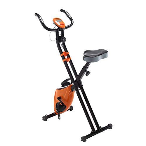 WGFGXQ Bicicleta estática Plegable, Bicicleta de Ciclismo de Interior Bicicleta de Ciclo de transmisión silenciosa con Asiento Ajustable y sensores de frecuencia cardíaca Monitor de 5 Funciones Ent