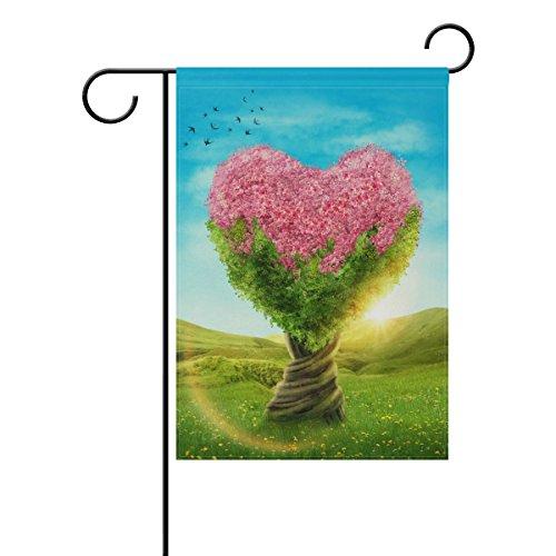 Naanle de Saint-Valentin Polyester Garden Drapeau Double Face, Printemps Cœur Arbre décoratif Jardin Maison Drapeau pour extérieur 12 X 18 Multicolor 2