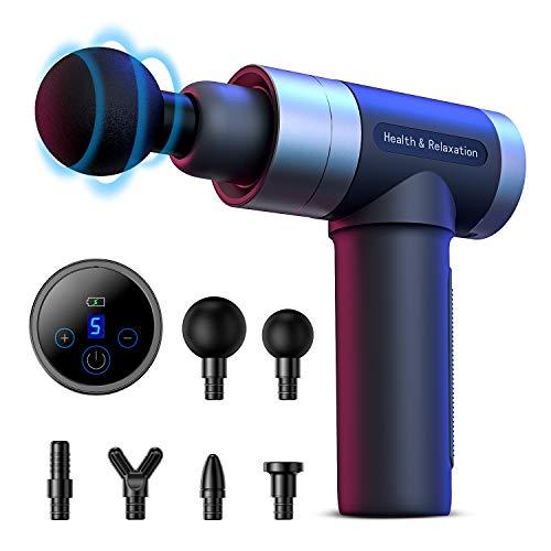 FYLINA massagepistole, Tiefen massagegerät mit 5 Geschwindigkeiten, LED-Anzeige-Touchscreen Massage Gun, elektrisches Handmassagegerät mit 6 Massageköpfen für Nacken Schulter Rücken