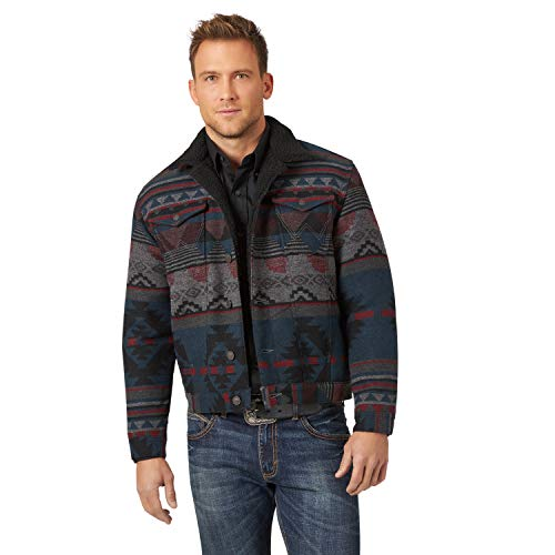 Wrangler Men's Western Sherpa Lined Trucker Jacket, Jacquard Black, Large