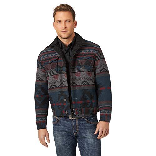 Wrangler Men's Western Sherpa Lined Trucker Jacket, Jacquard Black, Small