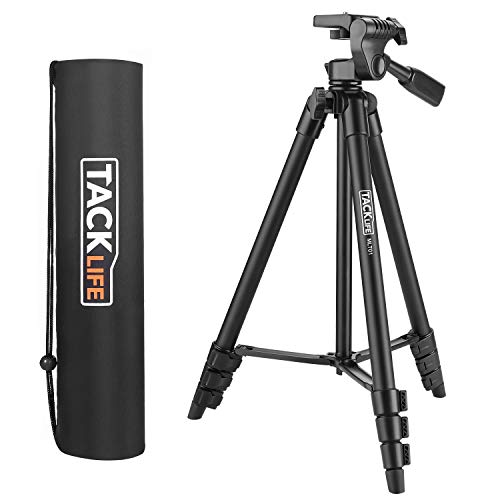 Lightweight Tripod 56-inch Alnuminum Travel/Camera/Phone Tripod with 360 Degree Head (6.6 lb/3kg Max Load),Carry Bag,Phone Adapter,1/4' Mounting Screw for Gopro,Laser Measure/Level,Ring Light - TRI01