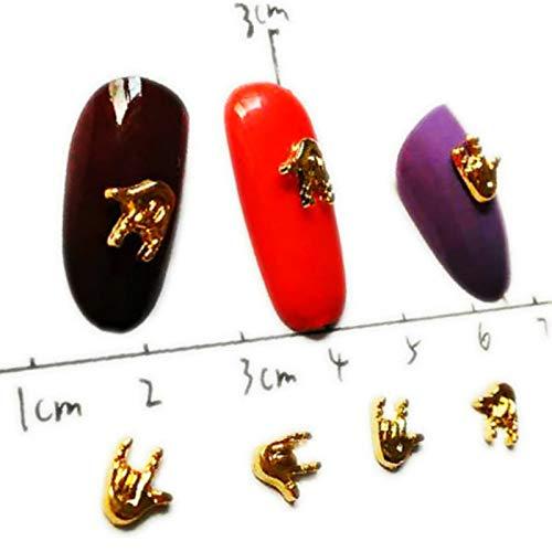 40Pcs 'Ich Liebe Dich' Geste Nail Art Dekorationen Metall Kawaii Nail Dekors Trend Deko Aufkleber Nieten Nailart Supplies Bling Finger