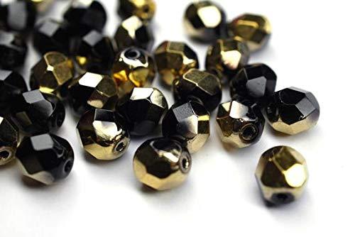 PaperMaid 20 Jet Amber 6mm böhmische Perlen, tschechische Glasperlen, DIY