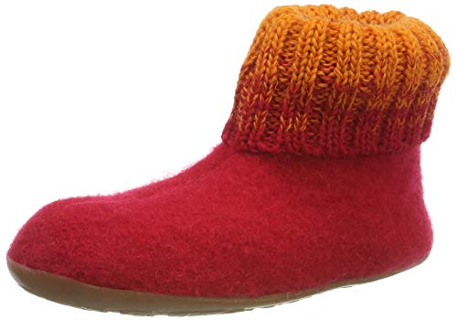 Haflinger Everest Iris, Hausschuhe, Unisex-Kinder, reine Wolle, Rot (Ziegelrot 85), 29 EU