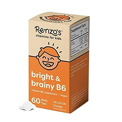 Renzo's Bright & Brainy Vitamin B6 - Vegan Vitamins for Kids, Dissolvable and Easy to Take B6 Vitamins for Kids, Zero Sugar, Oh-Oh-Oh Orange Flavor, [60 Melty Tabs]