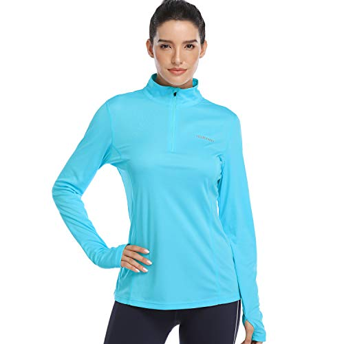 HISKYWIN Womens UPF 50+ Sun Protection Tops Long Sleeve Half-Zip Thumb Hole Outdoor Performance Workout Shirt HF806 Lake Blue M