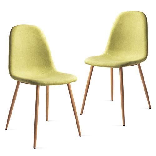 Mc Haus Pack 2 sedie Elva nordic design sala pranzo , Verde 46x43x86cm