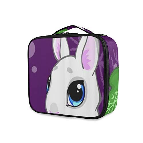 SUGARHE Netter Karikatur Kaninchen Handschuh Hut und purpurroter Hintergrund,Kosmetik Reise Kulturbeutel Täschchen mit Reißverschluss