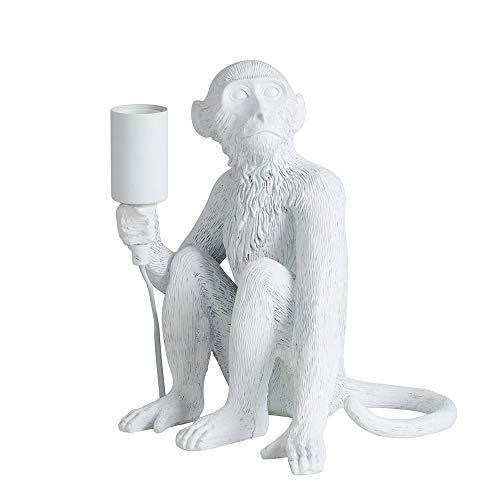 MiniSun – Tischlampe mit sitzendem Affen-Design in Weiß – Affenlampe sitzend – Affenlampe weiß – Lampe Affe weiss – Affe Lampe weiß (40 W, E27) [Energieklasse A++]