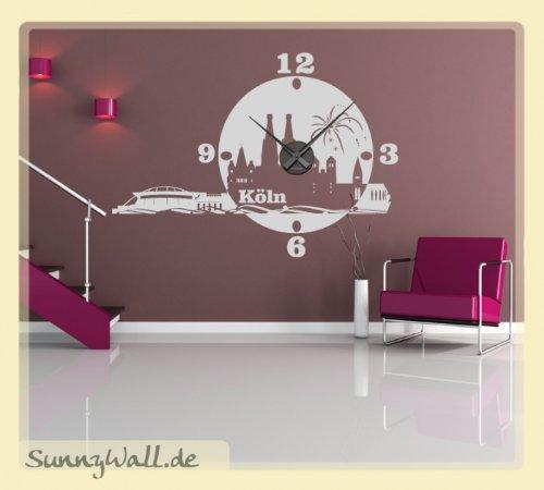 Wandtattoo Uhr Karlsson Skyline Köln Wanduhr Stadt Farbe: Violett