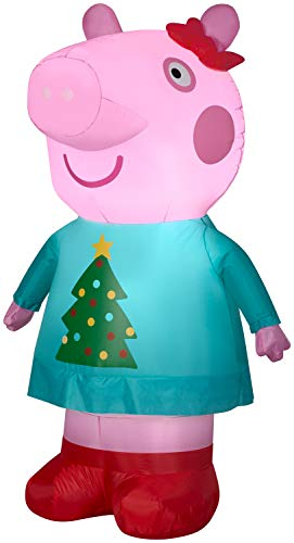 Gemmy Christmas Airblown 4.5Ft Tall Inflatable Peppa The Pig in Christmas Tree Outt Indoor/Oudoor Holiday Decoration