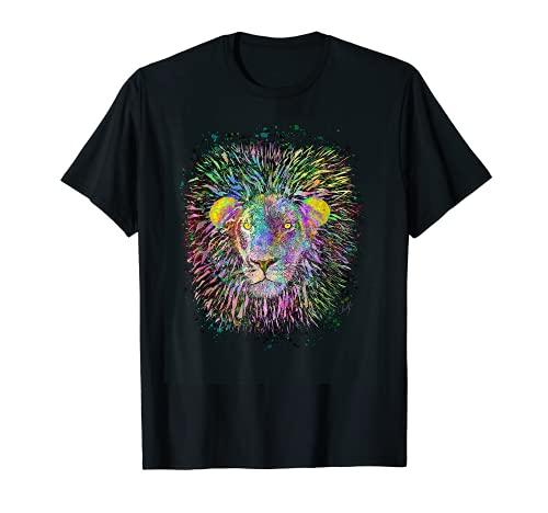 Art de peinture animaux africains sauvages Lion arc-en-ciel T-Shirt