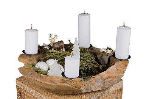 Trendy Home GmbH großer Adventskranz Adventsschale Teak Wurzelschale Teakschale Holzschale Obstschale Schale rund Ø 50 cm Dekoschale