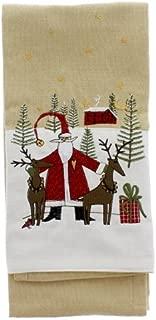 Park Design Christmas Embroidered Dishtowel, (Santa & Deer)