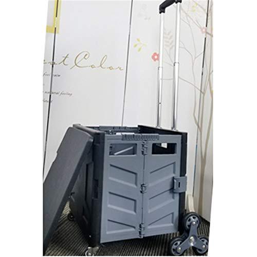 JIAODIE - Carro plegable de plástico, con mango telescópico para compras con ruedas, caja de almacenamiento para libros de profesores, para jardín, universidad, color gris
