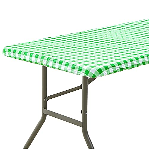 6ft Rectangle Elastic Fitted Tablecloth, Waterproof Spill-Proof Edged Vinyl Table Cover Green Checkered Printed with Flannel Baking, Easy to Wipe Off Stains, Great for Picnic Party Outdoor Patio
