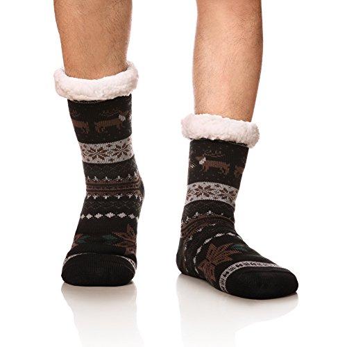 DoSmart Men's Winter Thermal Fleece Lining Knit Slipper Socks Christmas Non Slip Socks(Black)