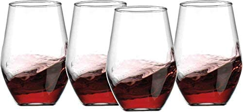Stemless Wine Glasses Set of 4 20oz Unique Diamond Shape Drinking Glassware Tumblers By Gift product image