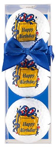 Golf-cadeauset Happy Birthday bestaande uit 3 bedrukte golfballen in geschenkdoos met strik - een leuk cadeau voor elke golfer