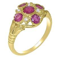 英国製(イギリス製) K9 イエローゴールド 天然 ルビー 天然 ダイヤモンド レディースー クラスター リング 指輪 各種 サイズ あり